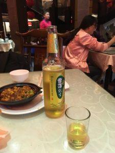 陳麻婆豆腐とビール