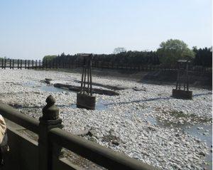 都江堰景区古い吊り橋