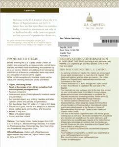 アメリカ国会議事堂予約確認書